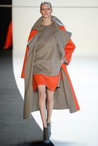 Akris - Orange is the new black. Love the orange colour blocking with grey.