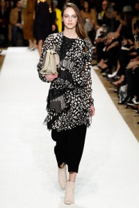 Chloe - Monochrome colours still trending with large accessories and ankle boots.
